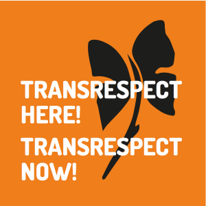 Transrespect here! Transrespect now! [Black butterfly flower on an orange background] TDoR