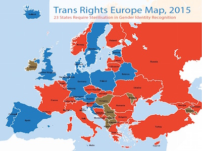 Europe Map.Trans Rights Europe Map Index 2015