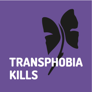 Transphoboa Kills. [Black butterfly - flower, TDoR logo on purple background]