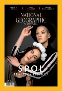 Cover of National Geographic Slovenia shows two people in front of a black background.