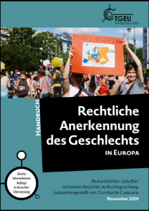 "The picture shows the front cover of the publication ""Rechtliche Anerkennung des Geschlechts in Europa - Handbuch"""