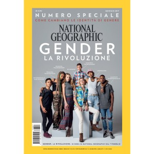 "The cover shows a group of young people standing facing the camera. The background is gray. In white text there are the words ""Gender La Rivoluzione"". Each person has white text next to them describing their gender identity."