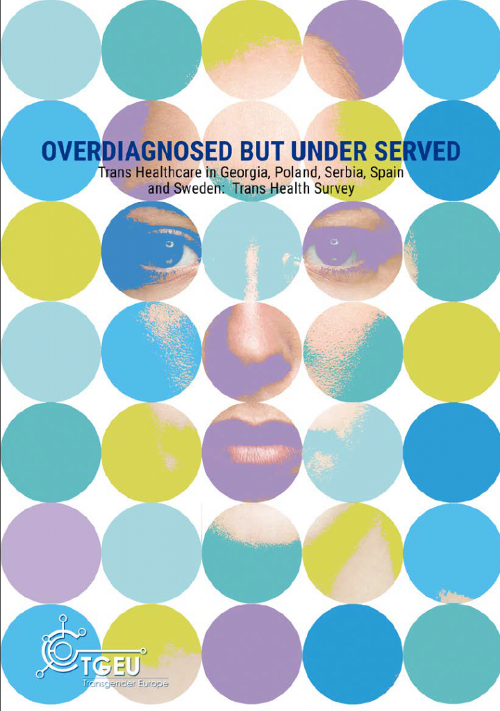 """The image shows the cover of the report. At the top is the title """"Overdiagnosed but Underserved"""" in all-caps and dark blue. Under this title is the subtitle """"Trans Healthcare in Georgia, Poland, Serbia, Spain, and Sweden: Trans Health Survey. This text is in black, and smaller than the title. In the bottom left corner is the logo of TGEU - Transgender Europe in White. The background is the face of a person behind different coloured circles. The colours of the circles are blue, green, and purple."""