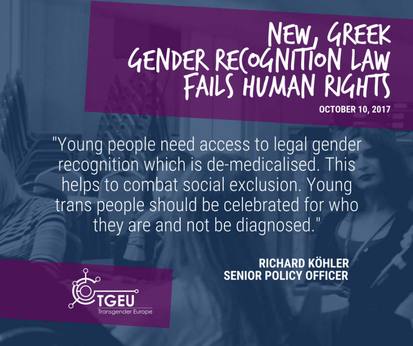 "White text on dark blue background ""Young people need access to legal gender recognition which is de-medicalised. This helps to combat social exclusion. Young trans people should be celebrated for who they are and not be diagnosed."""