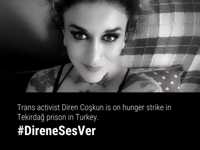 A BW portrait photo of trans woman Diren looking defiantly at the camera. The text has the #DireneSesVer