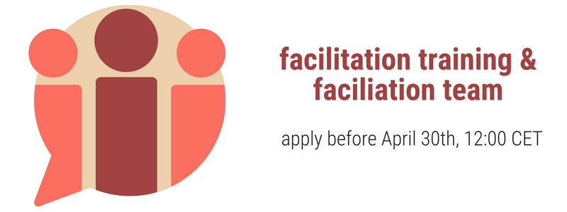 "The banner shows a speech bubble with 3 abstract figures inside it in orange and red. The text reads ""facilitation training & facilitation team apply before April 30th 12:00 CET"