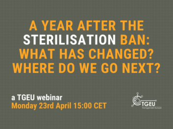 "yellow text on gray background. ""A year after the sterilisation ban: what has changed? where do we go next?"""