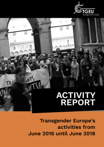 Cover of TGEU's Activity Report. Main colours are black and orange. There is a photo of a group of trans activists holding a banner.