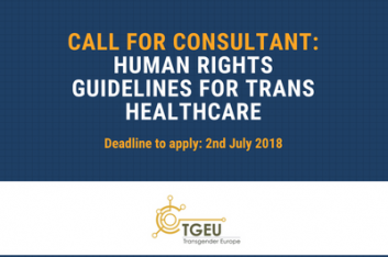 Blue background. White text: Clal for consultant: human rights guidelines for trans healthcare. Deadline to apply: 2nd July 2018