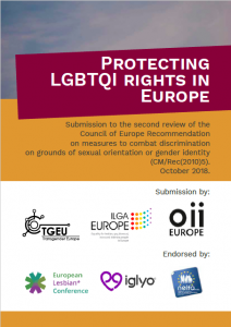 Front cover of the report submission to the Council of Europe. Includes logos of the 3 submitting and 3 endorsing organisations.