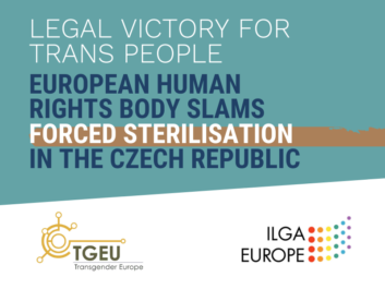 "Petrol blue background with text in all caps that reads: ""legal victory for trans people. European Human Rights Body Slams Forced Sterilisation in the Czech Republic"" - underneath are the logos of TGEU and ILGA Europe"
