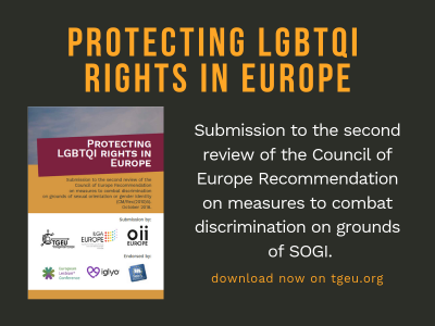 Image shows the front cover of a report. The heading is Protecting LGBTQI Rights in Europe.