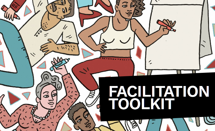Colourful illustration of various people floating around holding pens in their hands. The text 'Facilitation Toolkit' is written in white on black on the right hand side of the image.