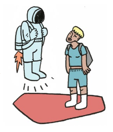 Illustration of a person in a spacesuit with a jetpack hovering over the ground, looking down at a person who is standing on the ground.