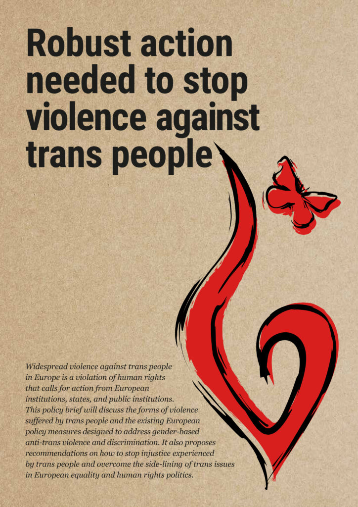 """front page of policy briefing shows title """"Robust Action Needed to Stop Violence Against Trans People"""" and red flame on brown background"""